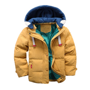 children Down & Parkas 4-10T winter kids outerwear boys casual warm hooded jacket for boys solid boys warm coats 2020(China)