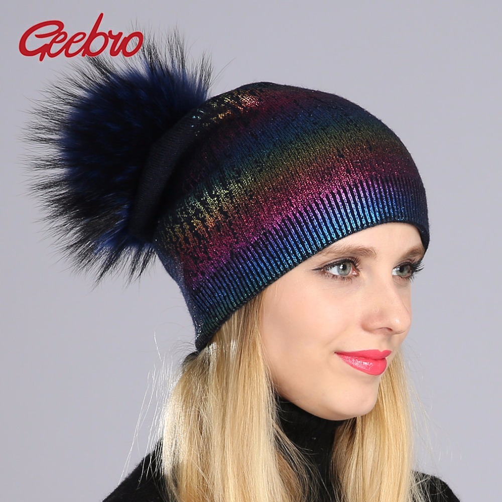 Geebro Winter Women's Beanies Hat Casual Warm Knitted Wool Beanies With Real Fur Pom Pom Ladies Raccoon Fur Pompons Beanies Hat