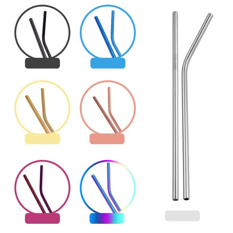 500pcs lot 265mm 6mm Colorful 304 Stainless Steel Straws Reusable Drinking Straw High Quality Bent Metal