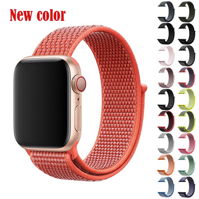 BUMVOR 1PCS Series 4/3/2/1 Woven Nylon Sports Strap Band for Apple Watch Sport Edition 40/44MM 38/42MM Case Connector Adapter