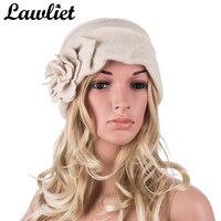 A376 High Quality Wool Ivory Winter Bucket Hats For Women Elegant Lady Flower Beanie Cloche Hat