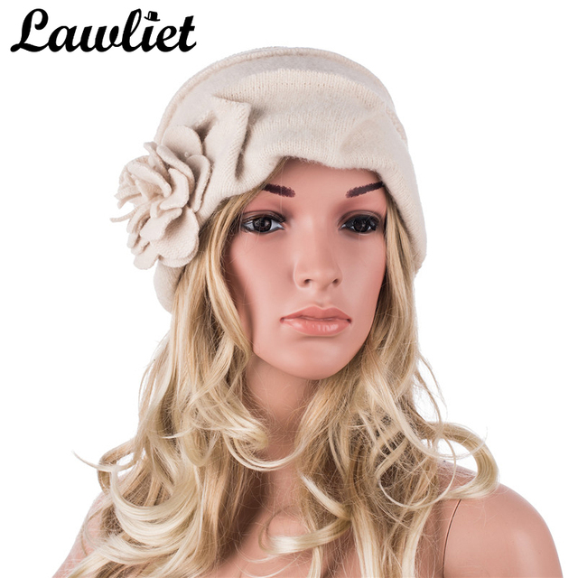 Elegancki 1920s styl kapelusze damskie zimowe Beret czapki Beanie dla kobiet wiadro Cloche Cap 100% gotowane wełny ciepłe kapelusze A376