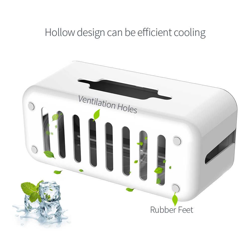 Ntonpower tira de energia de plástico rígido caixa de armazenamento cabo dobadoura organizador caixa de gestão de cabo com suporte e capa para segurança em casa