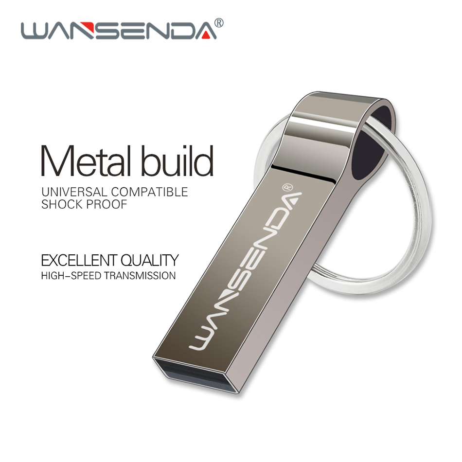 Wansenda Metal Steel USB Flash Drive 4GB 8GB 16GB 32GB 64GB 128GB Portable Pen Drive With Key Chain High Quality Pendrive