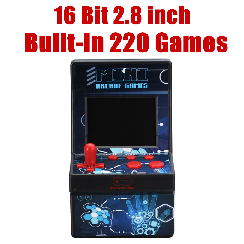 16 Bit 2.8'' Arcade Station Retro Mini Portable 1 Player Handheld Video Game Players Console Built-in 220 Classic Coin Games