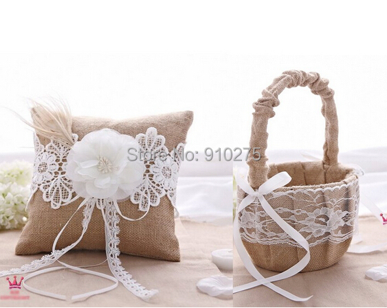 Retro Rustic Hessian Burlap Lace Wedding Ring Pillow Flower Girl