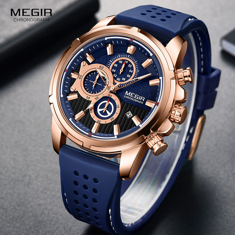 <font><b>MEGIR</b></font> Watch for Men Luxury Chronograph Quartz Wristwatch Top Brand Waterproof Watches Man Relogios Masculinos Clock <font><b>2101</b></font> BLUE image