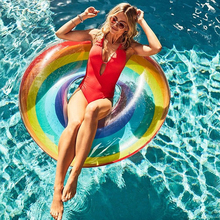 купить 120cm Swim Pool Floats Inflatable Air Mattress Inflatable Circle Ring Buoy Kickboard Water Boat Summer Party Inflatable Donut дешево