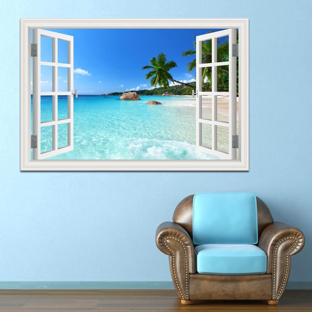 Summer Beach Coconut Tree 3d Window View Sticker Beach