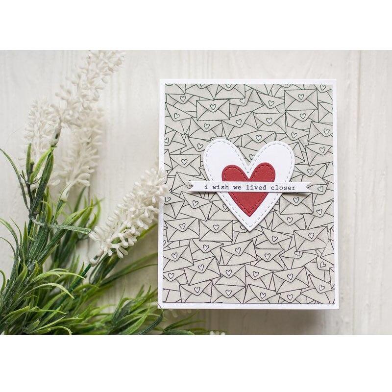 Love heart Banner Metal Cutting Dies Stencils for DIY Cards Scrapbooking DecorYR
