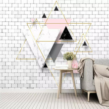 цены 3D modern abstract geometric triangle TV background wall professional custom mural wholesale wallpaper poster photo wall