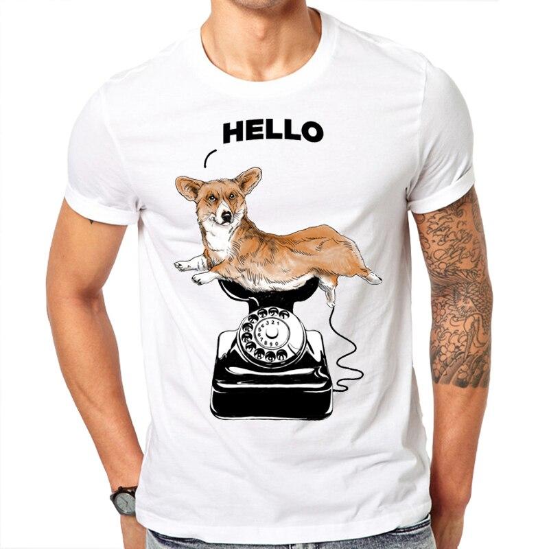 참신 인쇄 안녕하세요 코기 디자인 남성 T 셔츠 2019 신형 패션 여름 반팔 T 셔츠 화이트 T 셔츠 하라주쿠