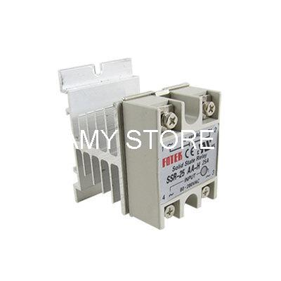 Single Phase SSR Solid State Relay 25A 80-250VAC 24-380VAC + Heat Sink SSR-25AA normally open single phase solid state relay ssr mgr 1 d48120 120a control dc ac 24 480v