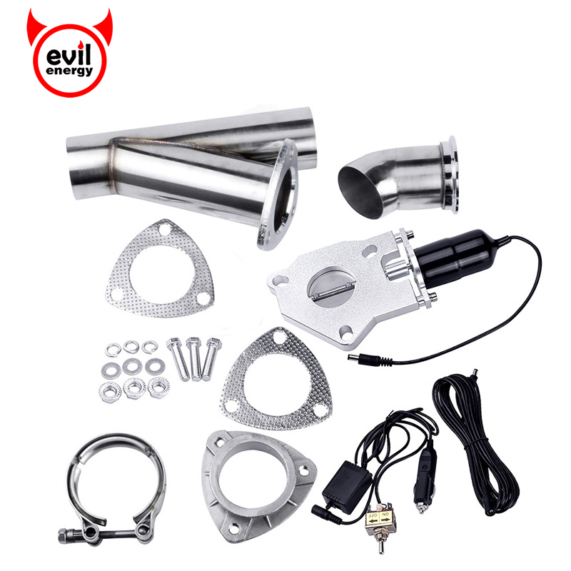 evil energy 2.0 Inch Stainless Steel Headers Y Pipe Electric Exhaust CutOut Kit With Remote Control Valve Kit With Manual Switch tansky high quality 2 inch inch piping switch electric 2 inch exhaust dumps cutout stainless steel cutouts tk cutout02