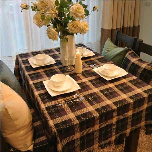 ROMANZOWoolen Fabric American Villatic Coffee Plaid Tablecloth