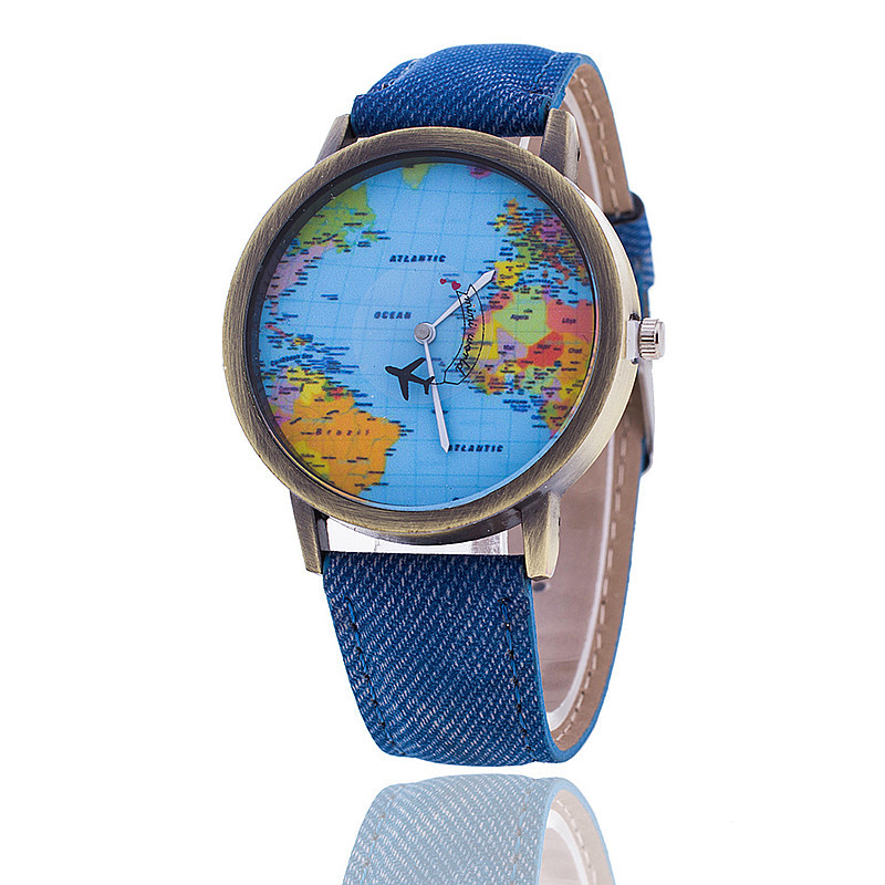 Vansvar Brand Fashion Plane World Map Denim Fabric Band Wristwatch Casual Quartz Watch Ladies Clock Relogio Feminino Gift 1553 miler vintage fashion watch women retro leather strap world map casual quartz wristwatch ladies creative clock relogio feminino