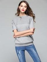 SZCHORIA primavera otoño Pullover mujeres suéter punto de alta superior  Delgado cuello redondo manga corta Mujer 7a03c72bcd0b