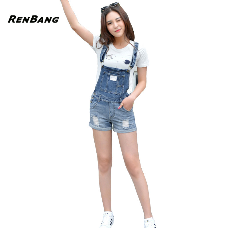 RENBANG Summer Frazzle Denim Shorts Women Slim strap Short Jeans Pocket Fashion College Wind Women Shorts S-XXL ...