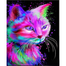 New  Diy Diamond Painting Color Cats Embroidery Oil Cat 5D Square Full Stick Wall