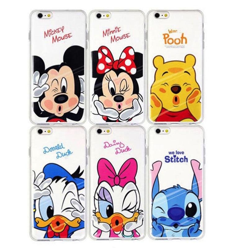 33621fbd02 Fashion Cartoon Animal Cute Capa Mickey Minnie Pooh Stitch Pattern Soft TPU  Clear Case Cover For Iphone 7 7 Plus Fundas XY4174