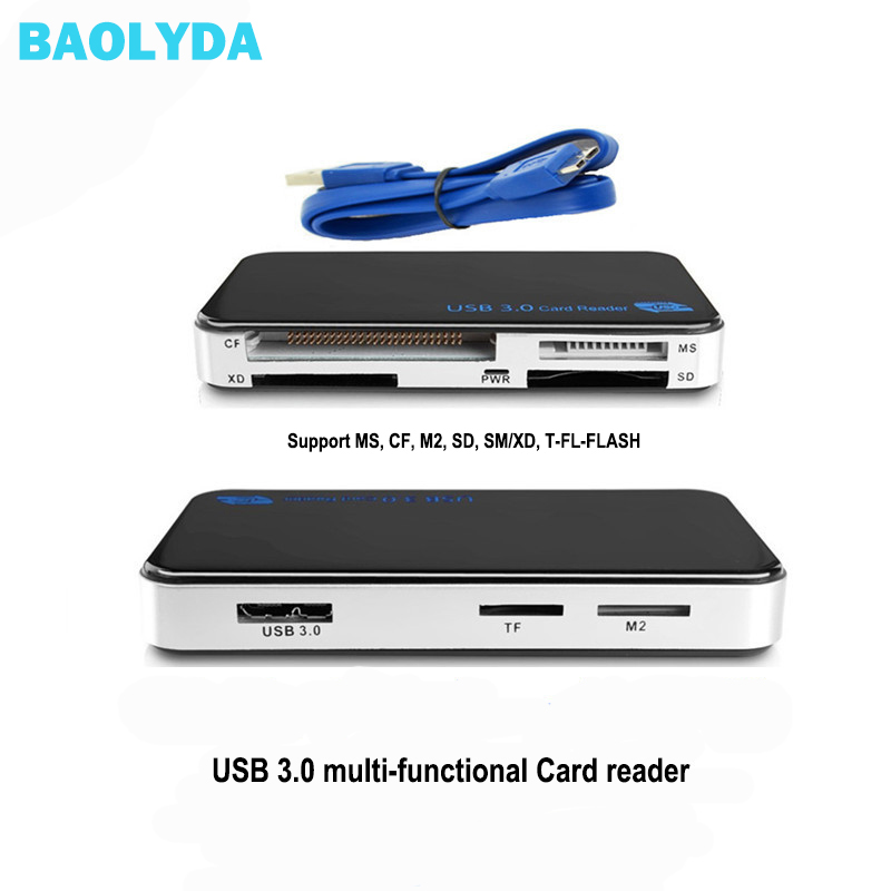 Lecteur de carte Micro SD Baolyda USB 3.0 OTG haute vitesse tout en un adaptateur de carte mémoire intelligente SD/Micro SD/TF/CF/MS Compact Flash