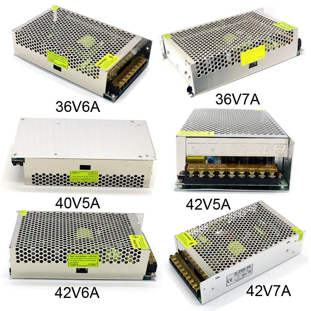 Conmutación de la fuente de alimentación Ac 110 V 220 V a Dc 36 V 40 V 42 V 5A 6A 7A 200 W 250 W 300 W Motor de regulación de voltaje de fuente de alimentación del controlador