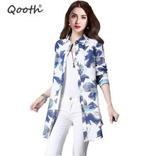 Qooth Spring New Linen Floral Print Blouse Casual Women's Loose Long Sleeve Blouse Turn Down Collar Tops Blouse Size 2XL QH046 fluted sleeve floral print blouse