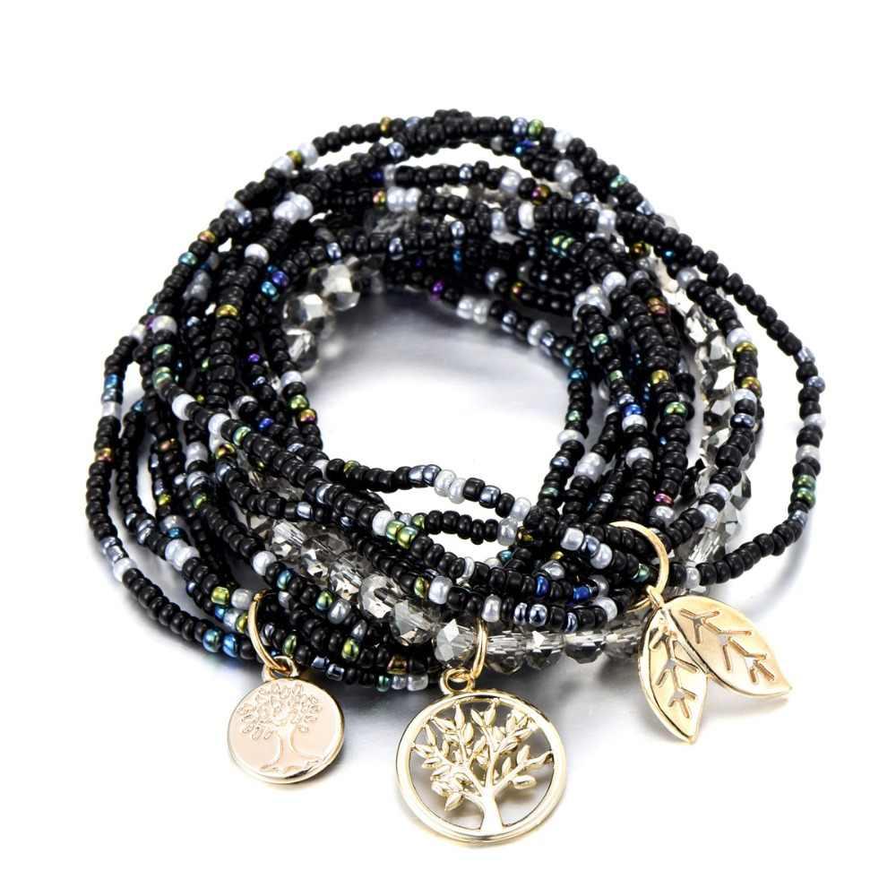 Czeski życie drzewa zostaw urok wielowarstwowy bransoletki dla kobiet kryształ boho koraliki bransoletki biżuteria Party prezent
