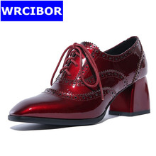 2017 British style Fretwork vintage Women Oxford shoes patent leather lace up pointed toe high heels fashion Retro women pumps