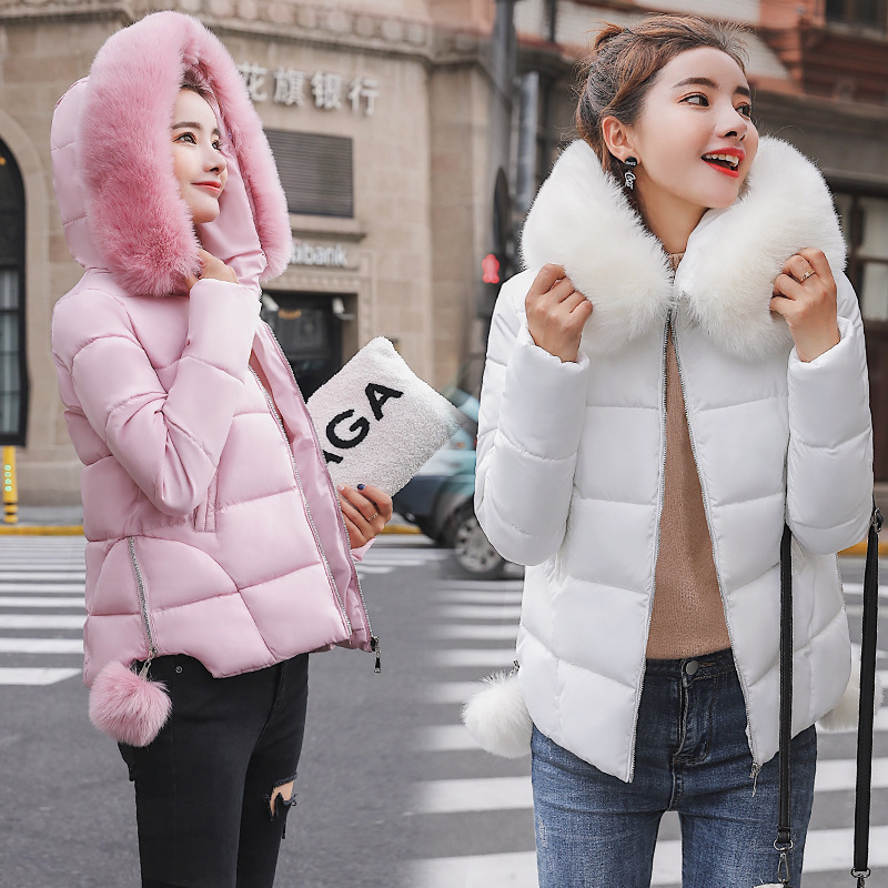 Short Hooded Fur Collar Winter   Down     Coat   Jacket Warm Women Casaco Feminino Abrigos Mujer Invierno 2018 Wadded Parkas Outwear