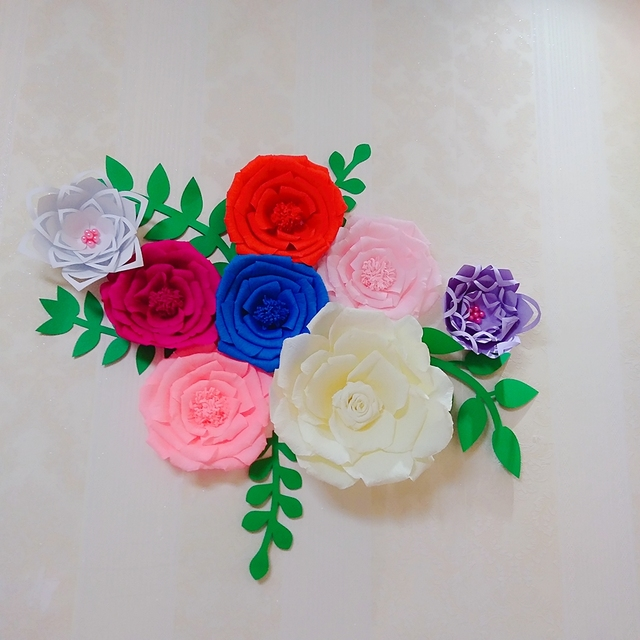 Us 63 2 20 Off 8pcs Assorted Crepe Paper Flower Set With 5pcs Leaves Gallery Wall Decor Nursery Decor Girl S Room Decor Floral Nursery Decor In