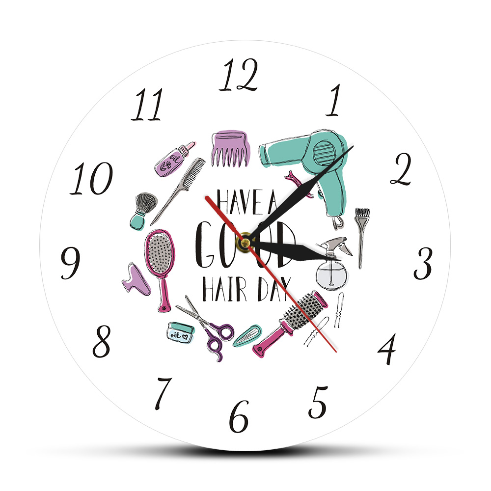 Have A Good Hair Day Modern Wall Clock Hair Salon Barber Shop Wall Decor Hairstylist Beauty Print Dining Room Round Wall Clock