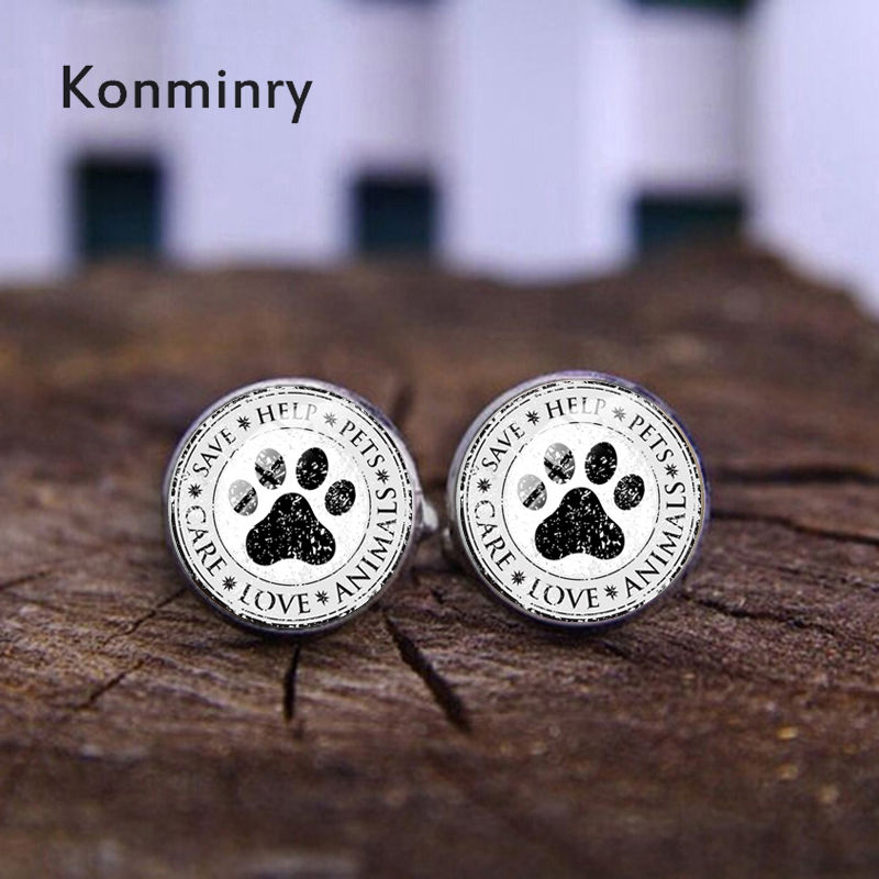 Konminry Cute Pet Paw Cufflinks Round Glass Printing Care Love Animal Letter Charms Men Shirt Suit Cuff Links Wedding Gifts