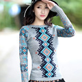 Women's Autumn Sweater New Pop geometric jacquard knit long-sleeved shirt Slim female women's fashion sweaters Women Pullovers