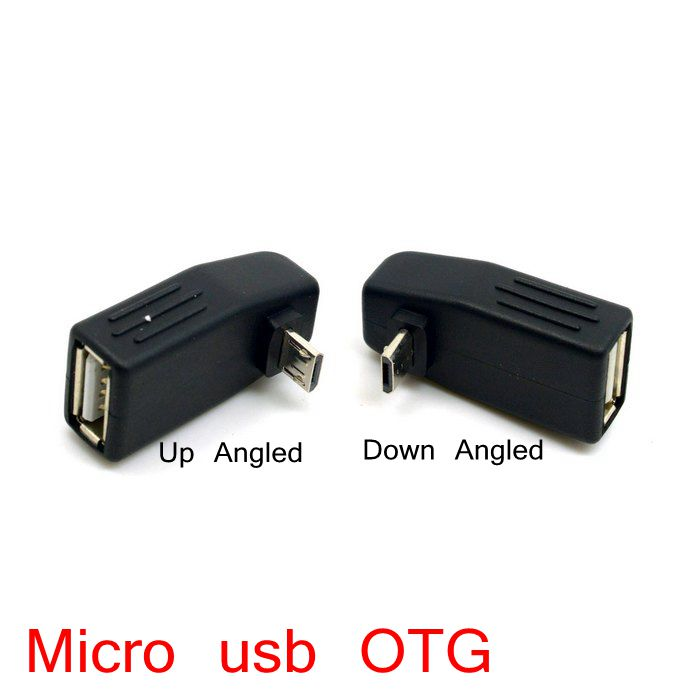 Left & Right & Up & Down Angled Micro USB male to USB 2.0 female Host OTG adapter Connector