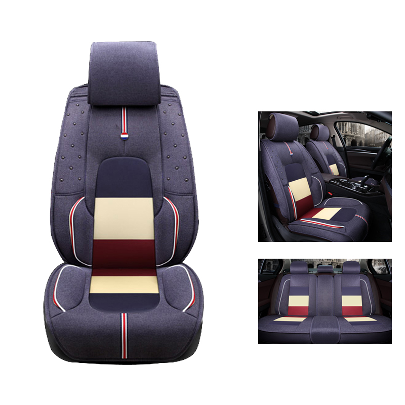 cloth flax car seat cover set for kia k2 3 4 5 kia cerato sportage optima maxima carnival rio. Black Bedroom Furniture Sets. Home Design Ideas