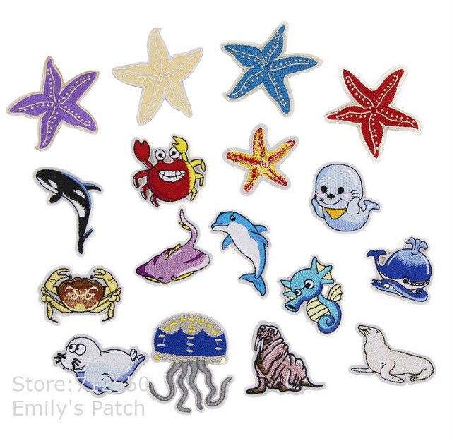 Nova chegada 10 pcs starfish mar animais bordado patch de ferro em Motif Applique chapéu saco Tecido sapato de pano bordado acessório
