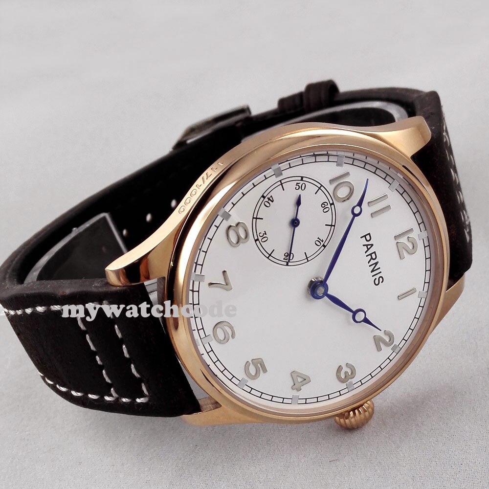 44mm parnis cadran blanc mains bleues bracelet noir 6497 remontage à la main montre homme B220