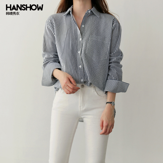 92f8ca590610 Simple Fashion Classy Blouse Striped Long Sleeve Shirt Women Top Fashion Spring  Chemise Femme Chemisier Blusa Mujer Camisa