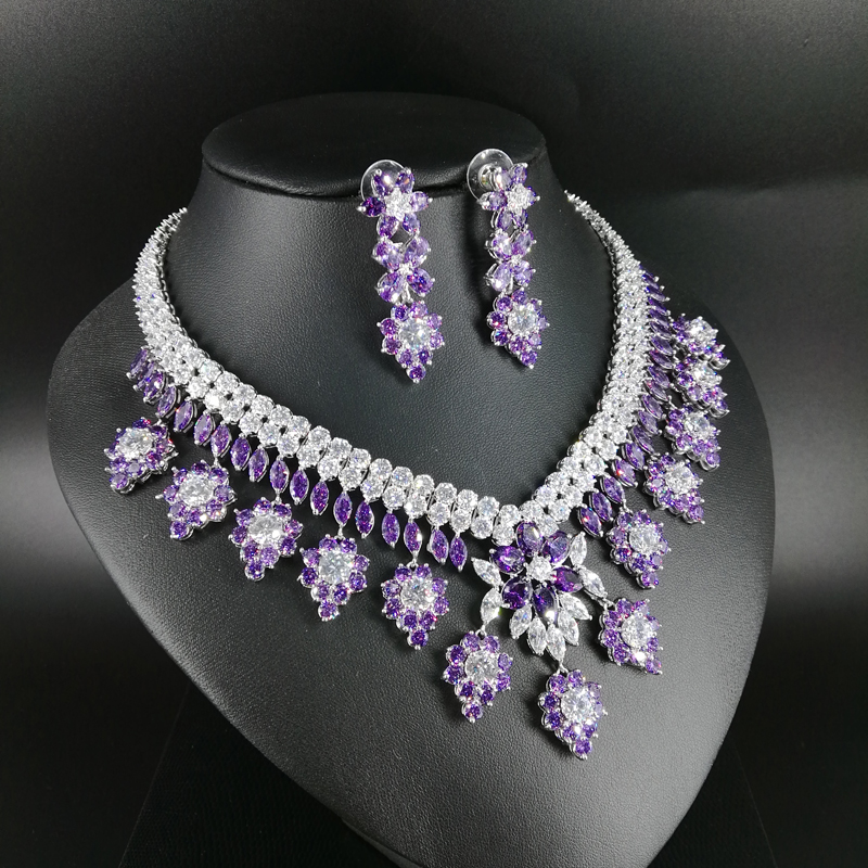 2019 new fashion luxury retro romantic purple flowers zircon necklace earring set wedding bride dinner party