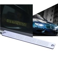 New Silver 1Pcs Car Temporary Telephone Number Parking Card 15 2cm Notification Night Luminous Sucker Plate