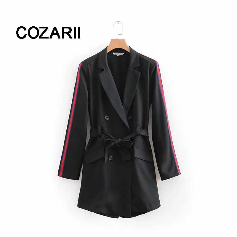 COZARII 2018 faminino playsuits england style solid notched sashes bow double breasted black playsuits women vestido