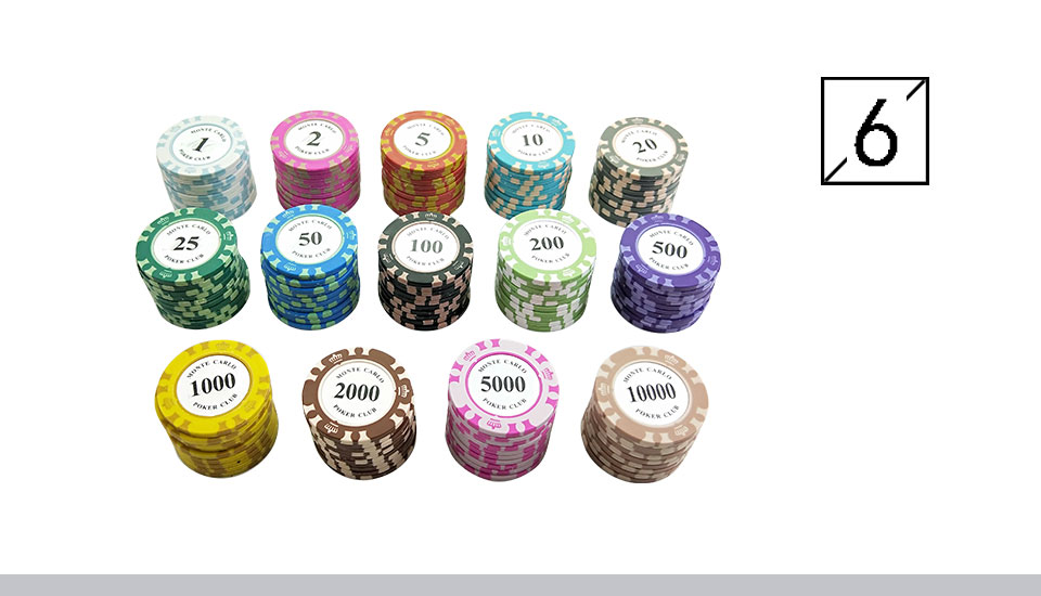 Yernea 25PCSSet Clay Poker Chips Set 14 Colors Face Value Coins Baccarat Texas Hold'em Poker Entertainment Poker Chips (6)