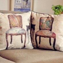 Cojín retro de sillas Vintage, sillas de pájaro, funda de almohada de lino, fundas de almohada para coche decoración del hogar cojines de sofá