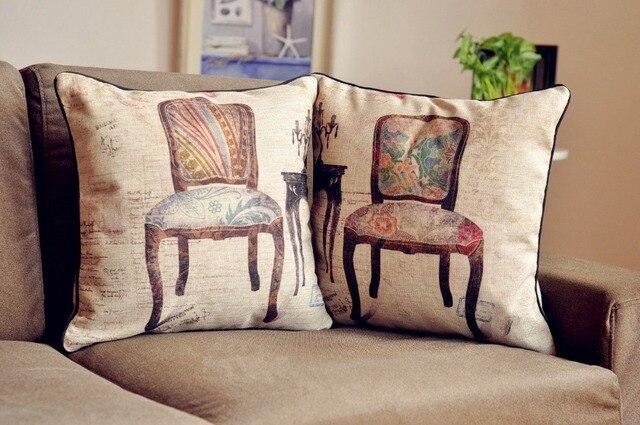 Kussens Voor Stoelen : Retro vintage stoelen kussen vogel stoelen kussen linnen