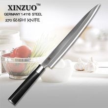 XINZUO 10.5″ inch sashimi knife sushi knife Germany steel kitchen knife filleting knife wood scabbard and handle free shipping