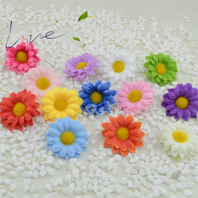 30Pcs 5CM Mini Daisy Flower Artificial Silk Flower Wedding Party Home Decor  Scrapbooking
