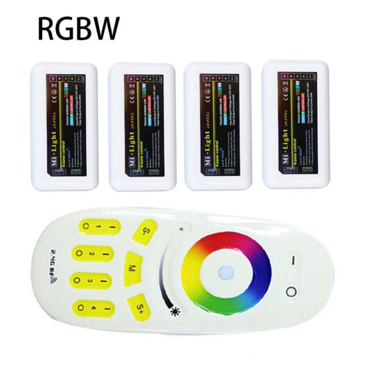 1XRGB(W) Remote+4X RGBW Controller 2.4G 4-zone Mi.light Wireless RF Remote Controller For 3528/5050 RGBW LED Strip Light milight remote wifi 4x rgbw led controller group control 2 4g 4 zone wireless rf touch for 5050 3528 rgbw led strip light