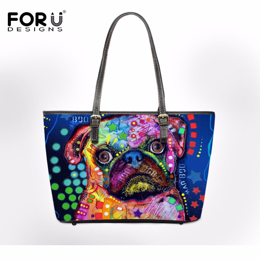 FORUDESIGNS Colorful Pet Dog Pug Art Printed Shoulder Bags Women Large Casual Tote Bag Female Brand Ladies PU Leather Handbags forudesigns casual women handbags peacock feather printed shopping bag large capacity ladies handbags vintage bolsa feminina