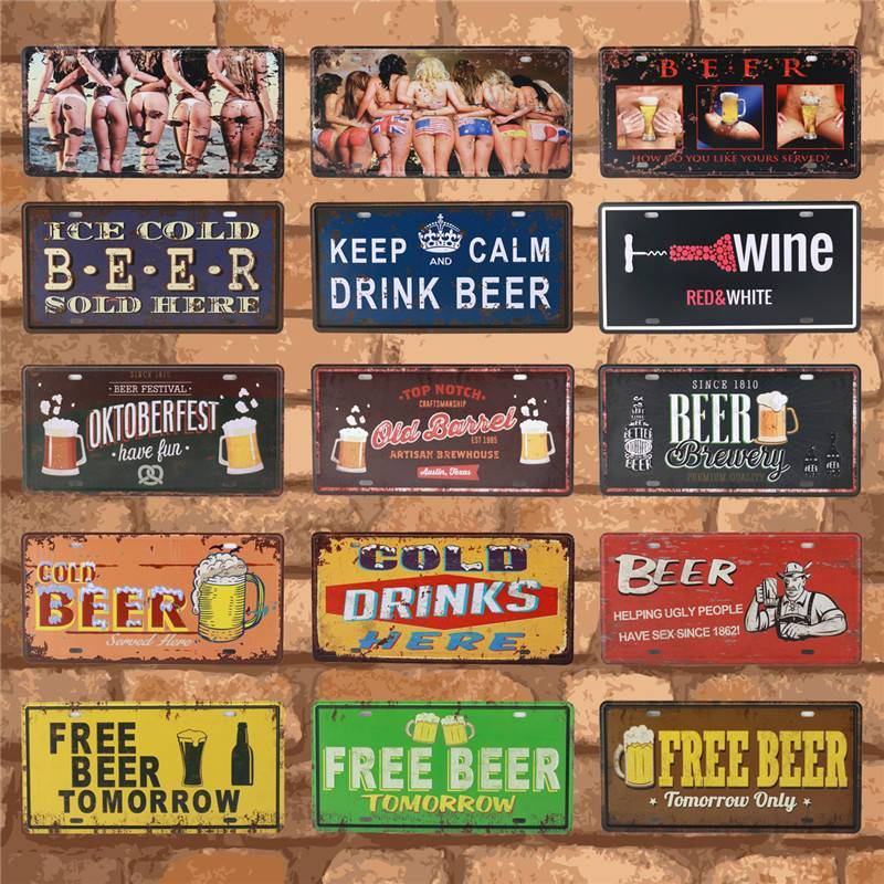 Beer Group Plate Metal Plate Car Number Tin Sign Bar Pub Cafe Home Decor Metal Signs Garage Painting Plaque Man Cave 15X30CM C16